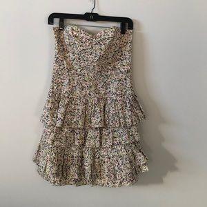 J. Crew strapless tiered ruffle skirt mini dress